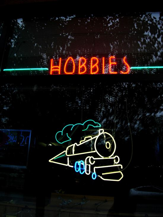 Hobby store sign