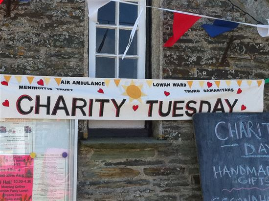Charity Tuesday banner, Tintagel