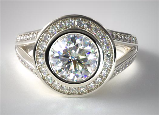 Split Shank Bezel Halo Ring