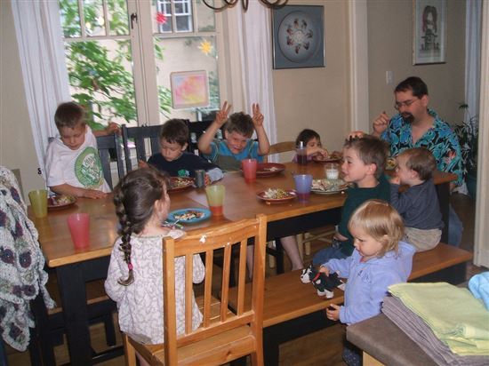 Kids table at the first summers barbeque