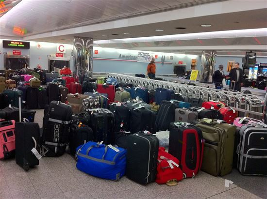 Baggage on display in LGA