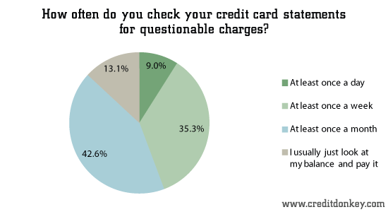 How often do you check your credit card statements for questionable charges?