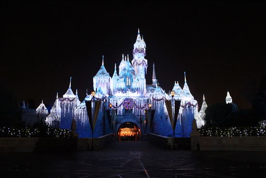 disneyland castle night time