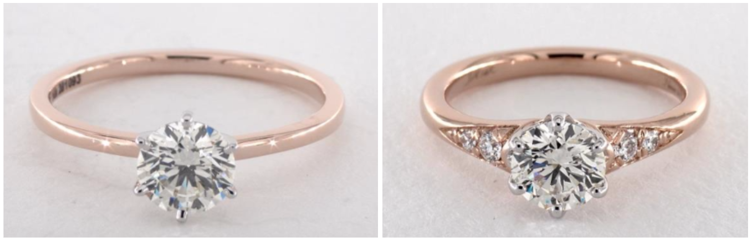 Rose Gold And White Gold Engagement Rings